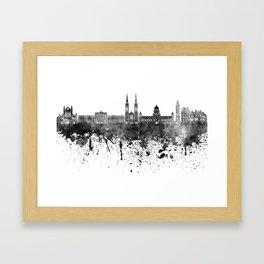Belfast skyline in black watercolor on white background Framed Art Print