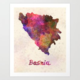 Bosnia in watercolor Art Print
