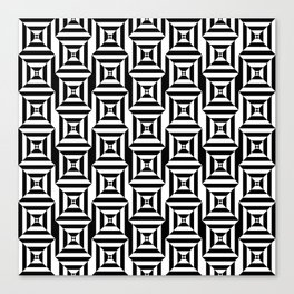 Op art broken squares in black and white Canvas Print