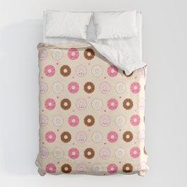 Cute Little Donuts on Cream Duvet Cover