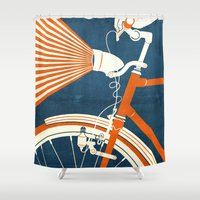 bicycle Shower Curtains featuring Bicycle Light by Fernando Vieira