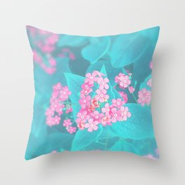 Forget Me Knot - Pink Heart little flowers Throw Pillow