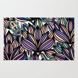 Modern hand painted black coral teal watercolor floral Rug