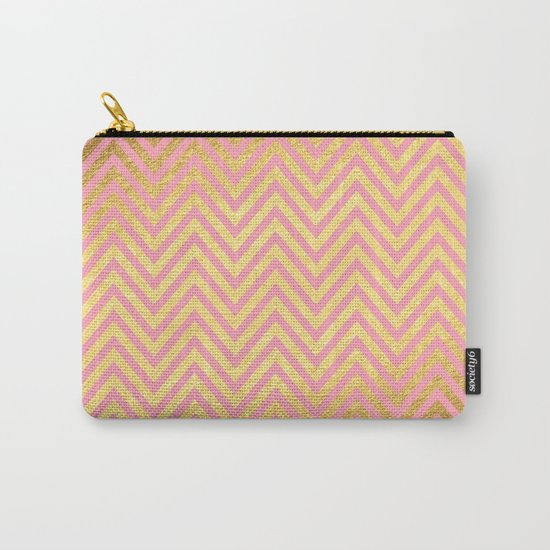 Chevron Herringbone pattern rosegold- gold metal glitter on pink watercolor Carry-All Pouch