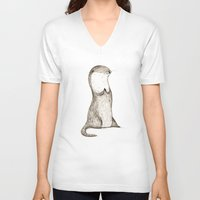otters V-neck T-shirts featuring Sitting Otter by Sophie Corrigan