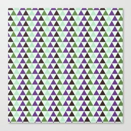 Geometrical purple green abstract triangles pattern Canvas Print