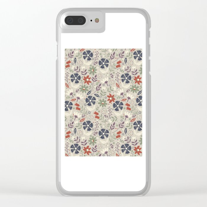 Retro Flora Clear iPhone Case