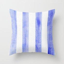 Blue stripes on canvas Throw Pillow