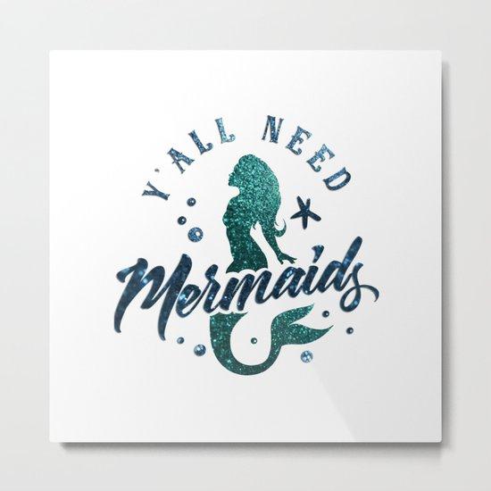 Mermaids - aqua and green glitter design Metal Print