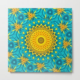 Birds of Paradise Circular Geometric Blended Floral Pattern \\ Yellow Green Blue Teal Color Scheme Metal Print