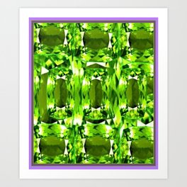 August Babies Peridots Birthstone Abstract Purple Design Art Print