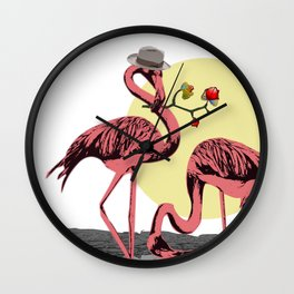 Love_wild flamingo love and courting Wall Clock