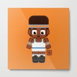 Basketball - White, Orange and Blue Metal Print