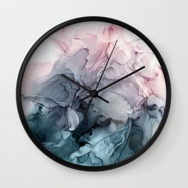 Blush and Payne's Grey Flowing Abstract Painting Wall Clock