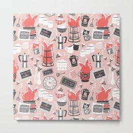 Modern farmhouse coffee station // pink Metal Print