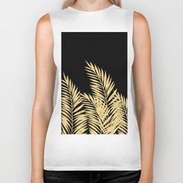Palm Leaves Golden On Black Biker Tank