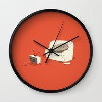 potato Wall Clocks featuring Couch Potato by Irene Chan