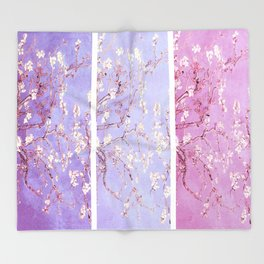 Vincent Van Gogh : Almond Blossoms Lavender Panel Art Throw Blanket