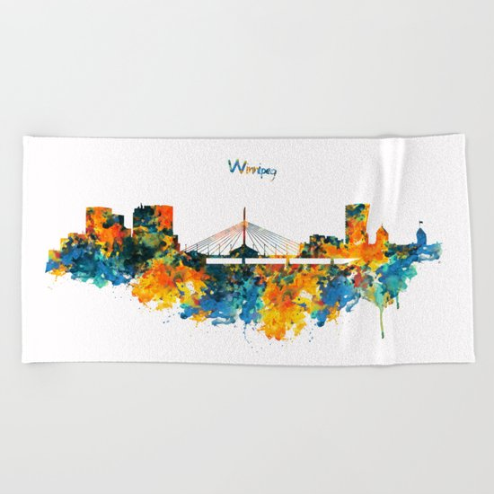 Winnipeg Skyline Beach Towel