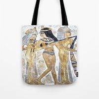 egyptian Tote Bags featuring Egyptian Musicians by Brian Raggatt