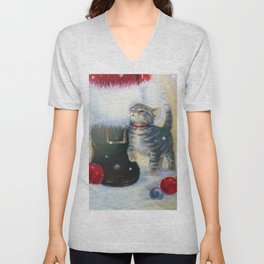 Kitten at Santa's Boot Unisex V-Neck