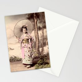 Japanese girl with parasol Stationery Cards