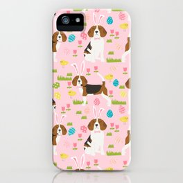 Beagle easter spring bunny eggs dog breed gifts for pure breed pet lover beagles iPhone Case