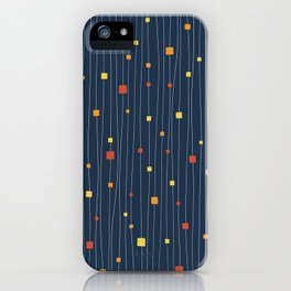 Squares and Vertical Stripes - Warm Colors on Blue - Hanging iPhone Case