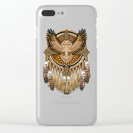 Native American-Style Great Horned Owl Mandala Clear iPhone Case