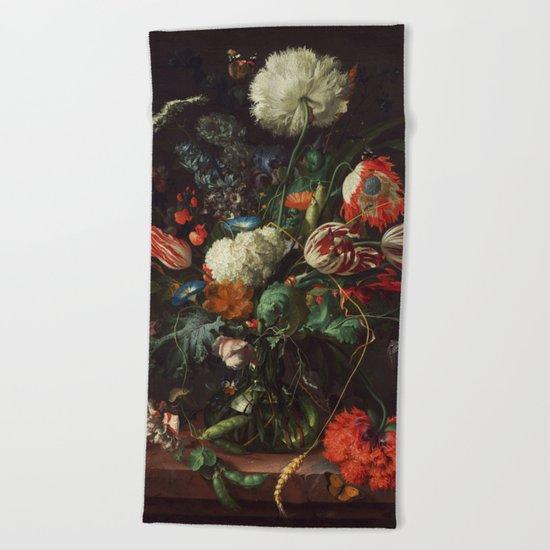 Jan Davidsz de Heem - Vase of Flowers Beach Towel