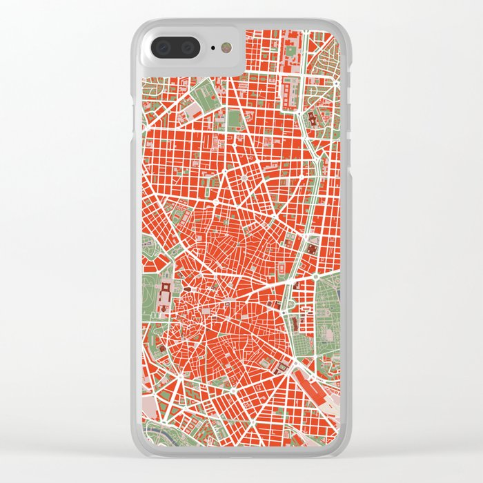 Madrid city map classic Clear iPhone Case