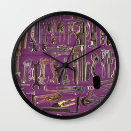Purple Tools Wall Clock