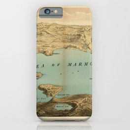 Vintage Map Print - 1878 bird's eye view of the Sea of Marmara iPhone Case