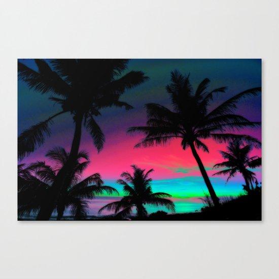 Deep Pink Palm Tree Sunset Canvas Print