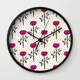 Modern neon pink black orange floral illustration polka dots Wall Clock