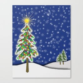 Lighted Christmas Tree at Night with Snowflakes Canvas Print