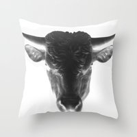 bull Throw Pillows featuring BULL by The Family Art Project