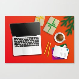 workplace at christmas time Canvas Print
