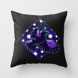 Cosmic Crow Throw Pillow
