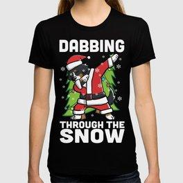 Bernese Mountain Dog Dabbing Through The Snow Christmas T-shirt