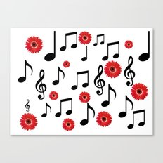 Musical Notes & Red Gerberas Canvas Print