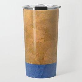 Copper Metallic With Tuscan Blue Stripe Trim Travel Mug