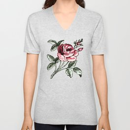 Shabby chic vintage rose and calligraphy Unisex V-Neck