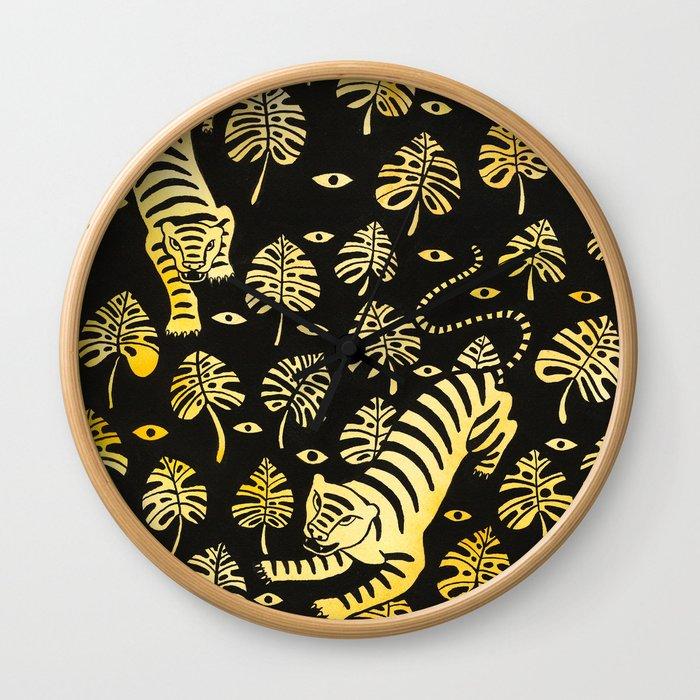 Tiger jungle animal pattern Wall Clock
