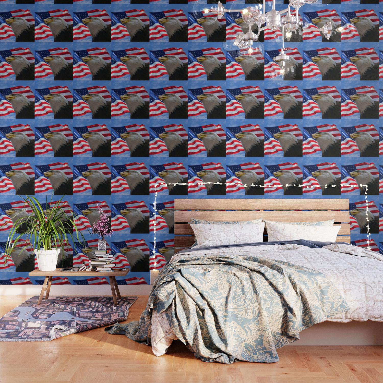 American Flag And Bald Eagle Wallpaper By Erikakai Society6