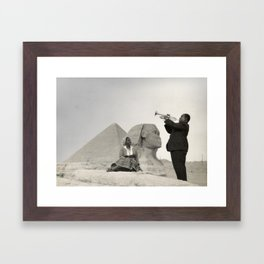 Louis Armstrong at the Spinx and Egyptian Pyrimids Vintage black and white photography / photographs Framed Art Print