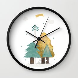 white fox Wall Clock