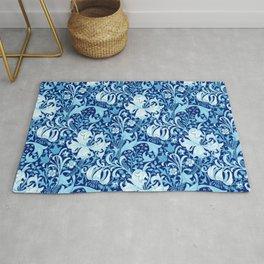 William Morris Iris and Lily, Indigo Blue and White Rug