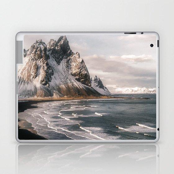 Stokksnes Icelandic Mountain Beach Sunset - Landscape Photography Laptop & iPad Skin