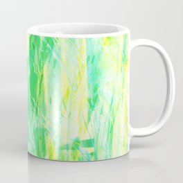 Grassy Abstract in Yellow Green Aqua White #nature #painting Coffee Mug